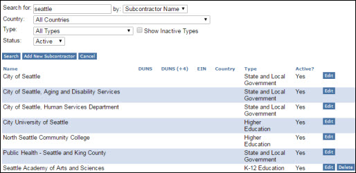manage subcontractors search criteria and results list