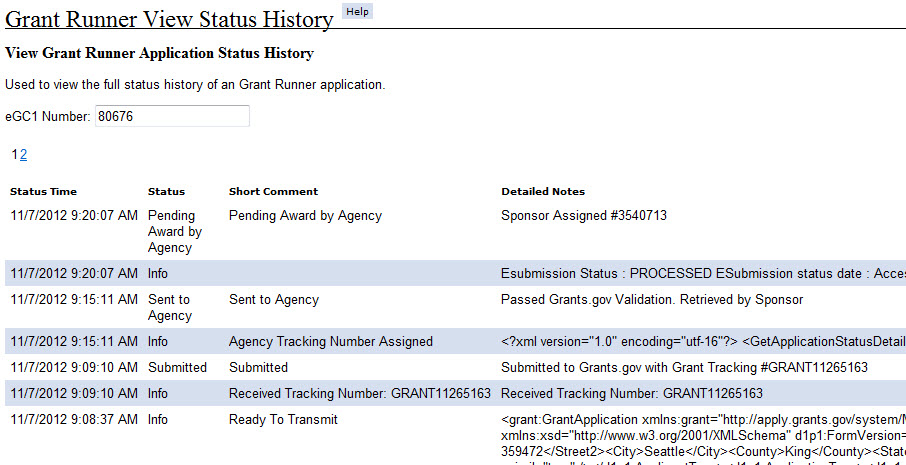 View Status History Grant Runner