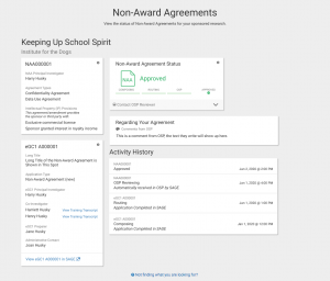 Non-Award Agreement details page in MyResearch