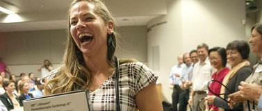 Medical student Alizabeth Weber smiles as she receives her stethoscope during a ceremony at the Jundt Art Center & Museum on the Gonzaga campus on Tuesday, August 23, 2016. She is part of the first UW School of Medicine class at Gonzaga. (Kathy Plonka / The Spokesman-Review)