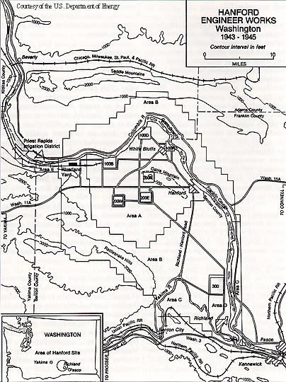 Hanford Map As The Tri Cities Looked To The Future They Gave New Attention To The Columbia River The Construction Of Hanford During The 1940s And 1950s