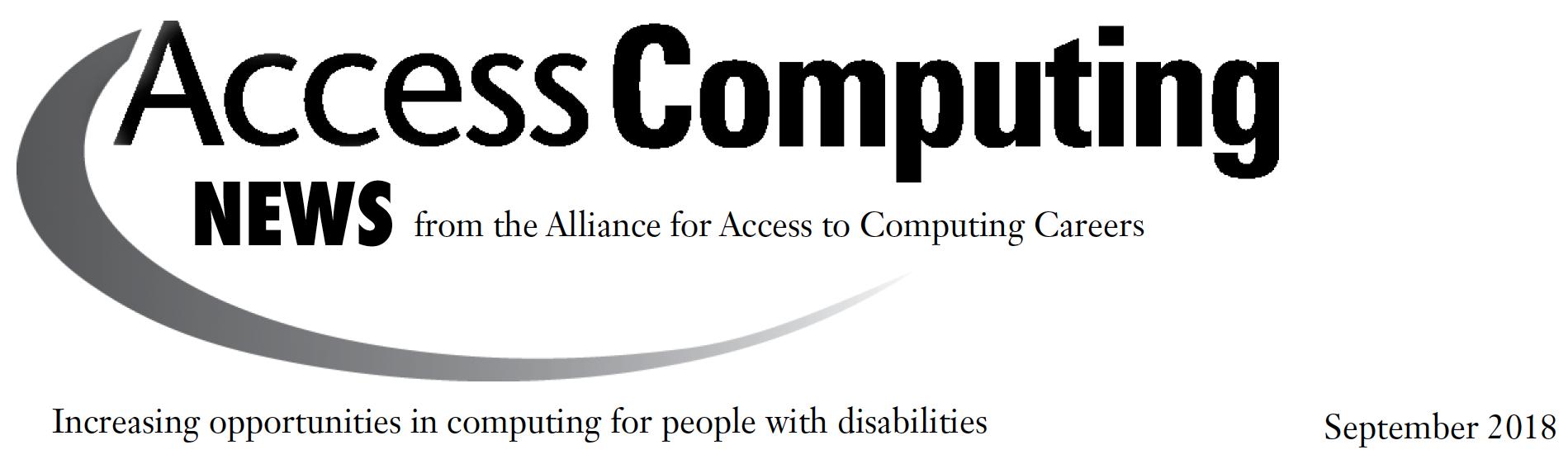 AccessComputing News September 2018 Header