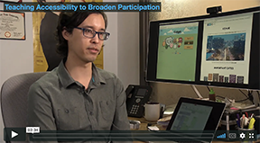A screenshot of Andy Ko in the Teaching Accessibility to Broaden Participation video.