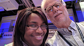 Student Kiara and AccessComputing PI Richard at the 2017 Tapia conference