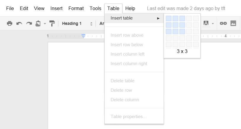 Screen shot of Google Docs menu and toolbar
