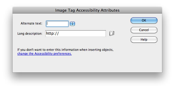 Image Tag Accessibility Attributes dialog in Dreamweaver, which includes prompts for alternate text and long description