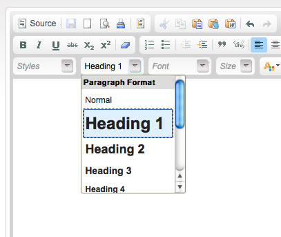 Screen shot of CK Editor, a web-based rich text editor, which includes an option to set various heading levels