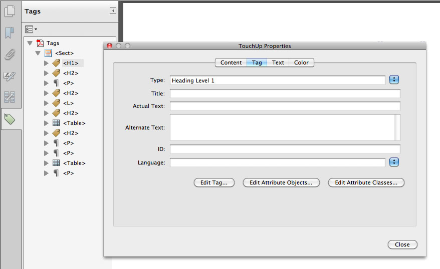 Changing text to Heading Level 1 in Acrobat by selecting Properties on a particular tag within the Tag Inspector