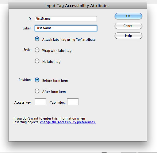 Input Tag Accessibility Attributes dialog in Dreamweaver