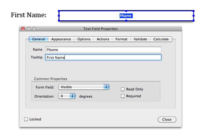 Text Field Properties dialog in Adobe Acrobat Pro, with First Name entered in the Tooltip field