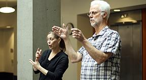 Richard Ladner teaching with a sign language interpreter.
