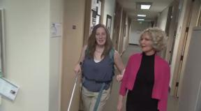 Cindy and Sheryl walking down the hall.