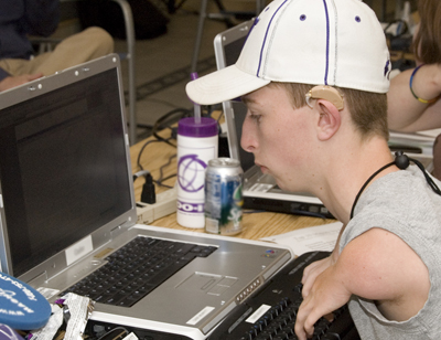 A student using an accessible keyboard