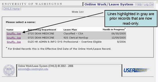 Lines highlighted in gray are records that are now  read-only.