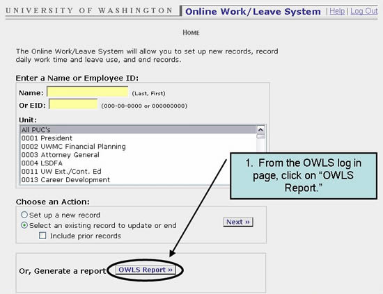 "1. From the OWLS log in page, click on ""OWLS Report."""