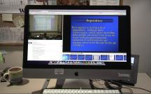 Still image from video: A computer screen showing lecture video with interactive transcript