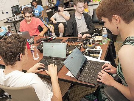 Students program robots on campus during Summer Study 2016.