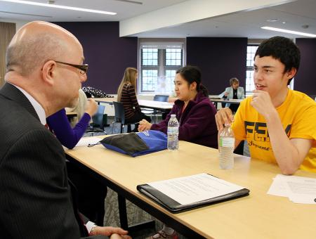 Image of a student participating in a mock interview.