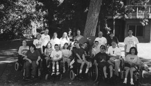 Camp Courage Campers and staff in the 1999 internet and college preview program pose for a group picture