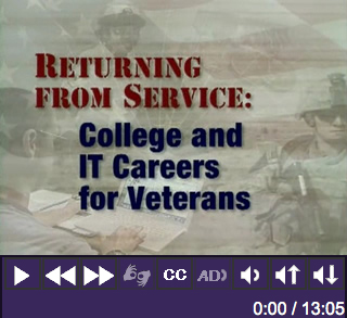 Title Screenshot of Returning from Service: College and IT Careers for Veterans.