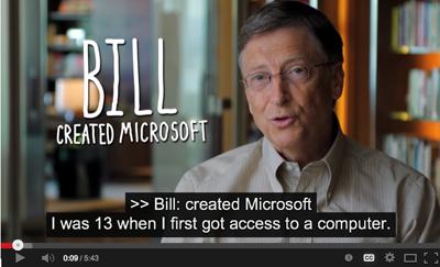 A video still of Bill Gates explaining how he first got into computing.