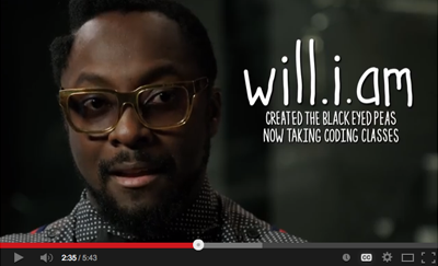 A video Will.i.am explaining that he is taking coding classes.