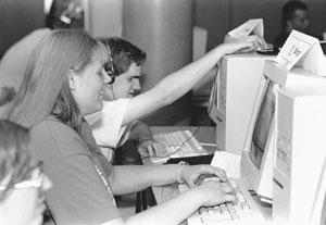 Karyn and Keaton at computer