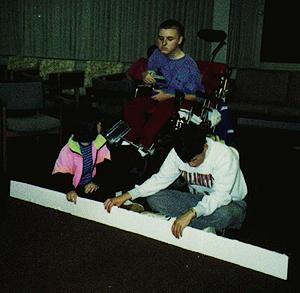 Photo of DO-IT Scholars designing a bridge