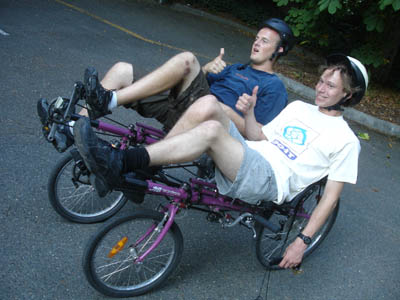 Picture of Collin and Sam on a modified bike.
