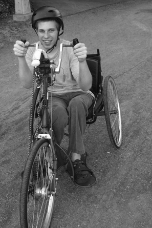 Picture of Jeremy on a modified bike.