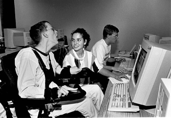 DO-IT Scholars play a computer game.