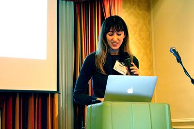 Faculty member Shiri Azenkot gives a presentation.