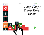 Screenshot of a block being selected and an audio clip plays.