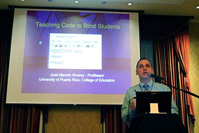 Participant Jose Alvarez presents on accessible games.