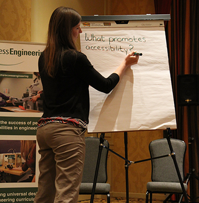 One of the presenters writing the discussion points made on a large writing board.