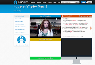 Screenshot of code.org's Hour of Code Quorum tutorial.