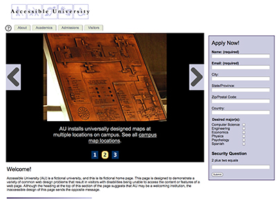 Screenshot of the Accessible University's demo site.