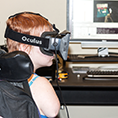 A student uses a virtual reality headset.