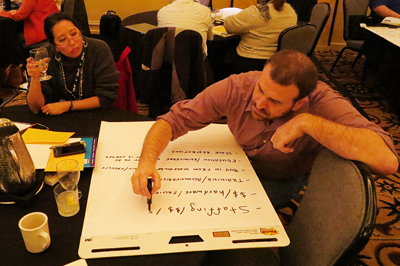A participant writes down group ideas on a large easel at the Accessible IT CBI.