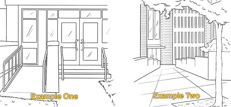 Two entrances examples: One that has stairs with a side ramp, and another that has one sloped entrance.