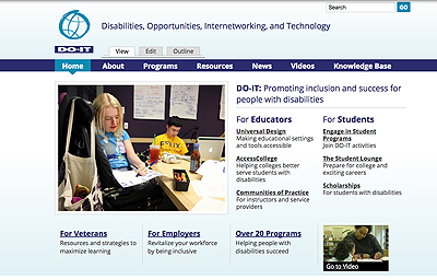 A screenshot of the front page of DO-IT's new website, featuring a photo of DO-IT's participants and resource links.