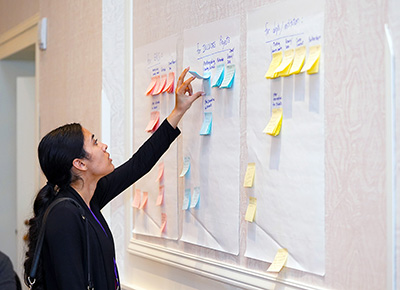 A participant leafs through post-it notes with promising practices on them.