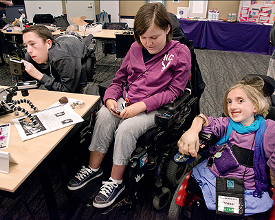 Image of students with in an accessible science lab
