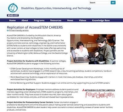 Screenshot of the Replications of AccessSTEM CAREERS webpage.