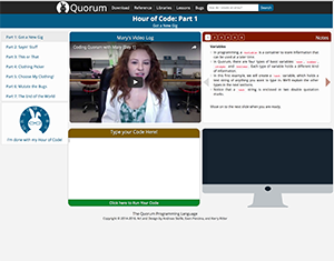 A photo of the Quorum website showing Hour of Code: Part 1 where a video is pictured with a woman in a lab coat.