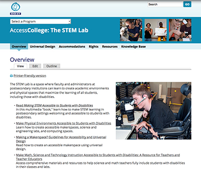 Screenshot of the AccessCollege: The STEM Lab Overview page