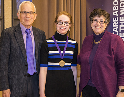 Hannah with her president's medal.