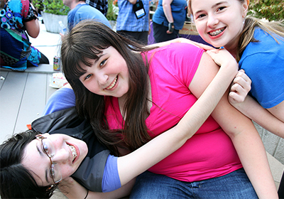 Lindsay hangs out with friends during karaoke night at Summer Study 2012.