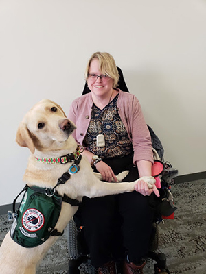 Brianna Vail and her service dog work together as a team; what makes a good service dog includes the strong bond between them.