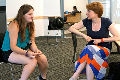 Emma speaks to a UW Professor about Self-Advocacy during Summer Study 2017.